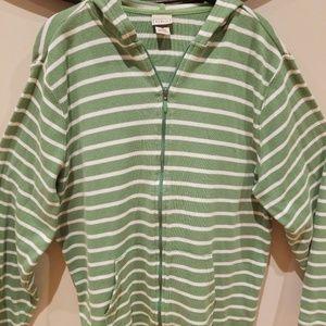 L.L.bean green stripe hoodie
